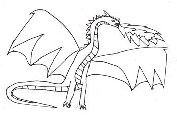 A sketch of a dragon.